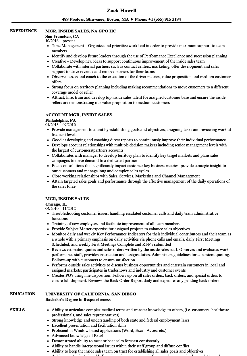 inside sales resume examples