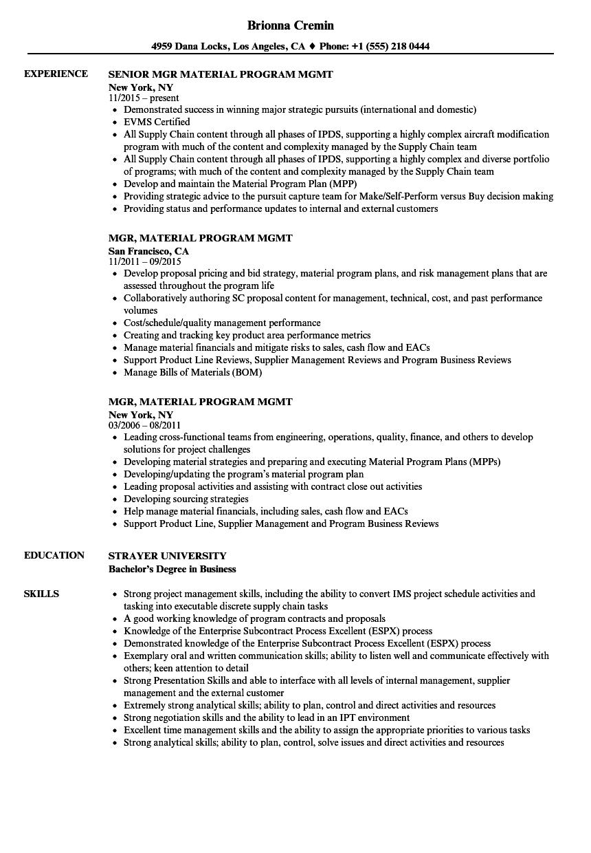 Mgr, Material Program Mgmt Resume Samples | Velvet Jobs