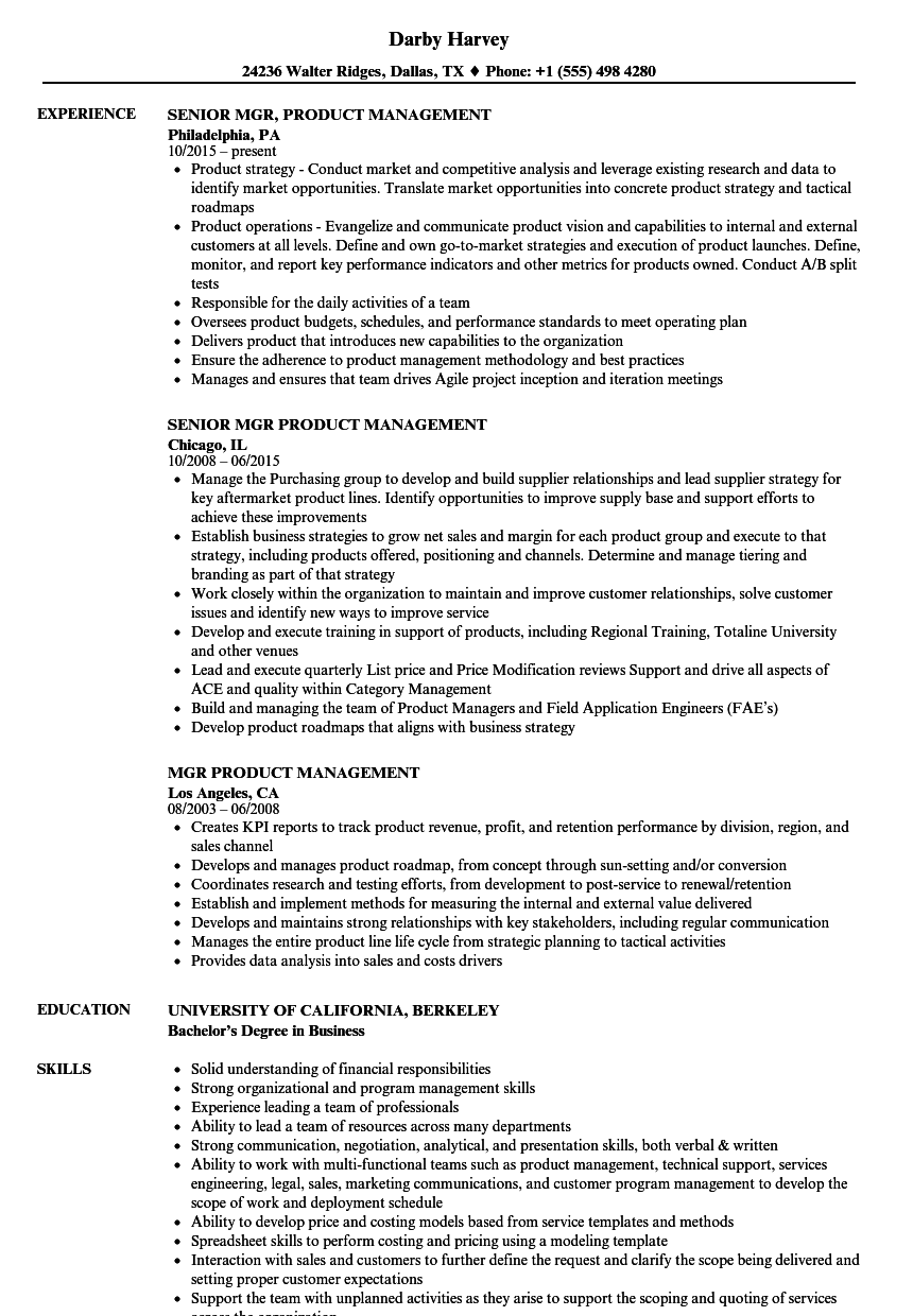 Mgr, Product Management Resume Samples | Velvet Jobs