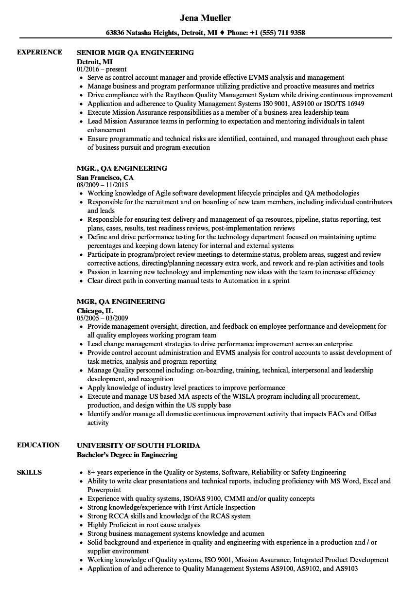mgr  qa engineering resume samples