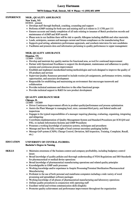 mgr  quality assurance resume samples