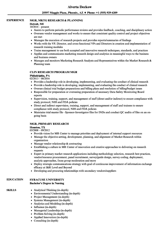 mgr  research resume samples