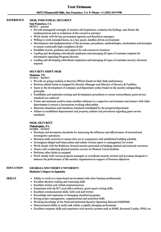 Mgr Security Resume Samples Velvet Jobs