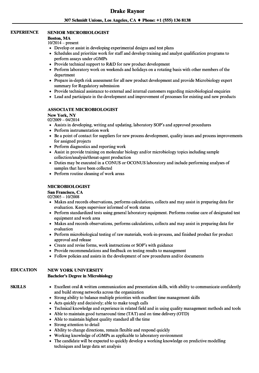 download microbiologist resume sample as image file - Microbiologist Resume Sample