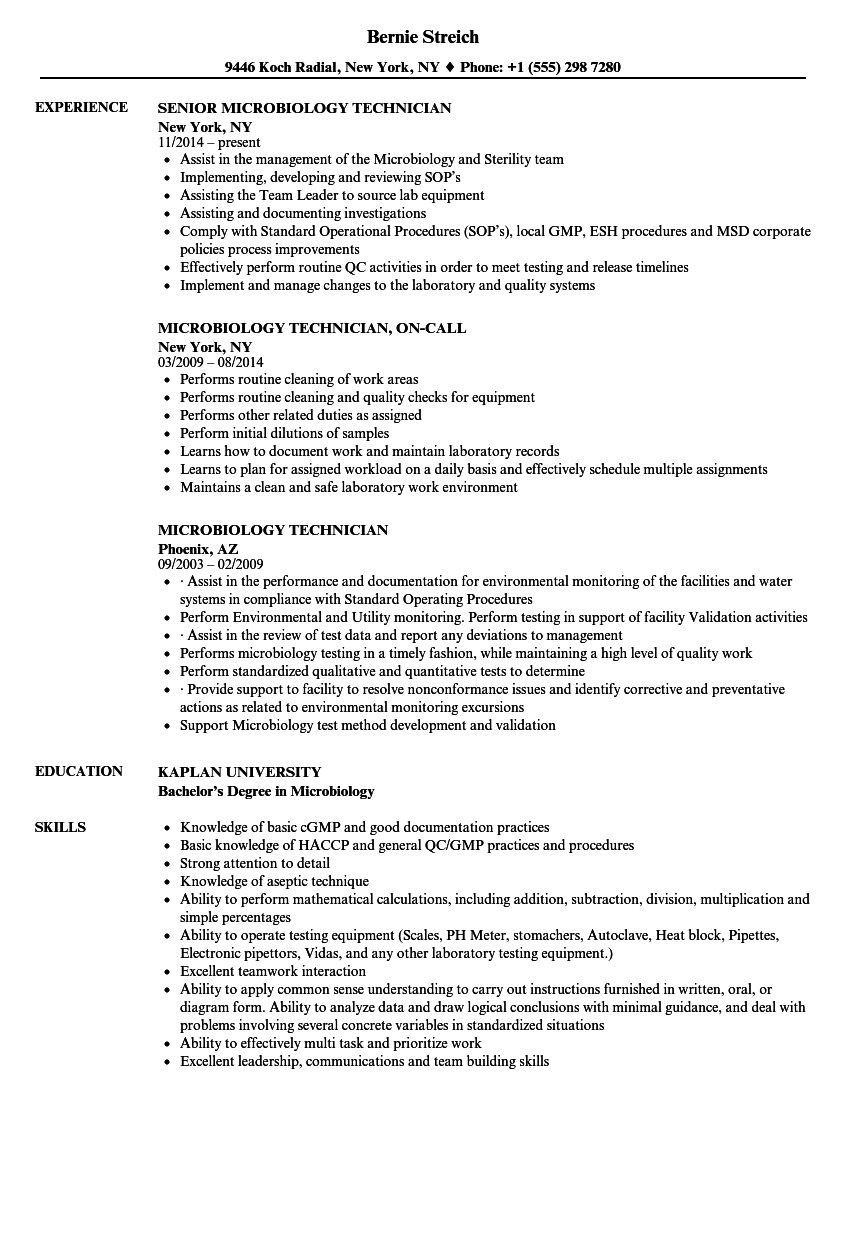 Microbiology Technician Resume Samples | Velvet Jobs