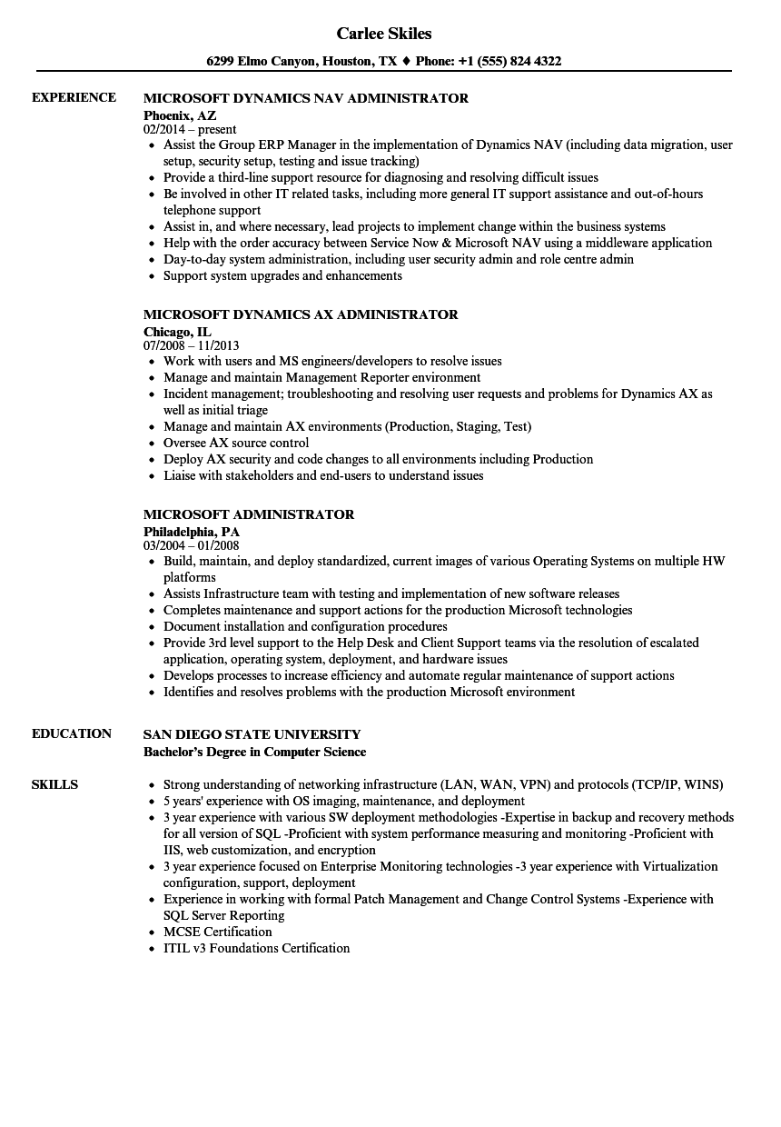 Download Microsoft Administrator Resume Sample As Image File