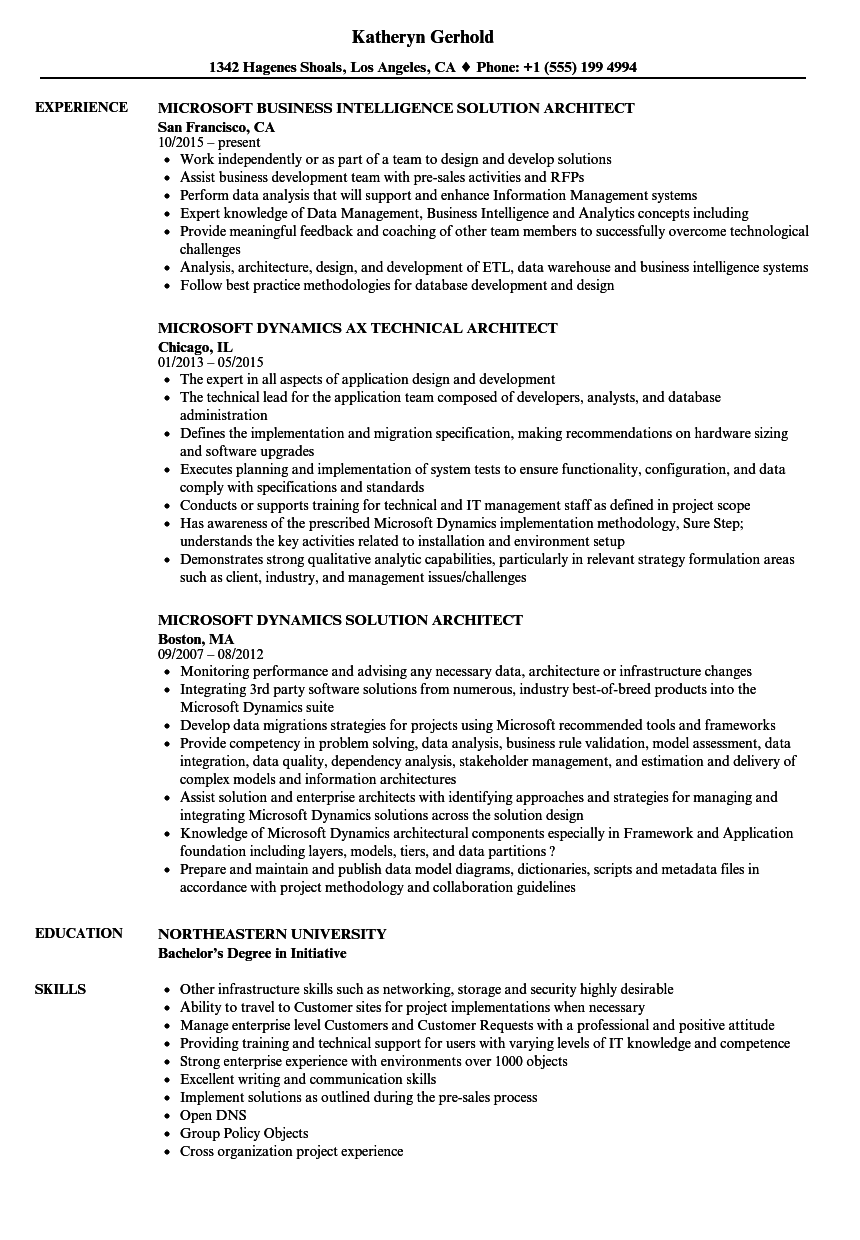 Microsoft Architect Resume Samples | Velvet Jobs