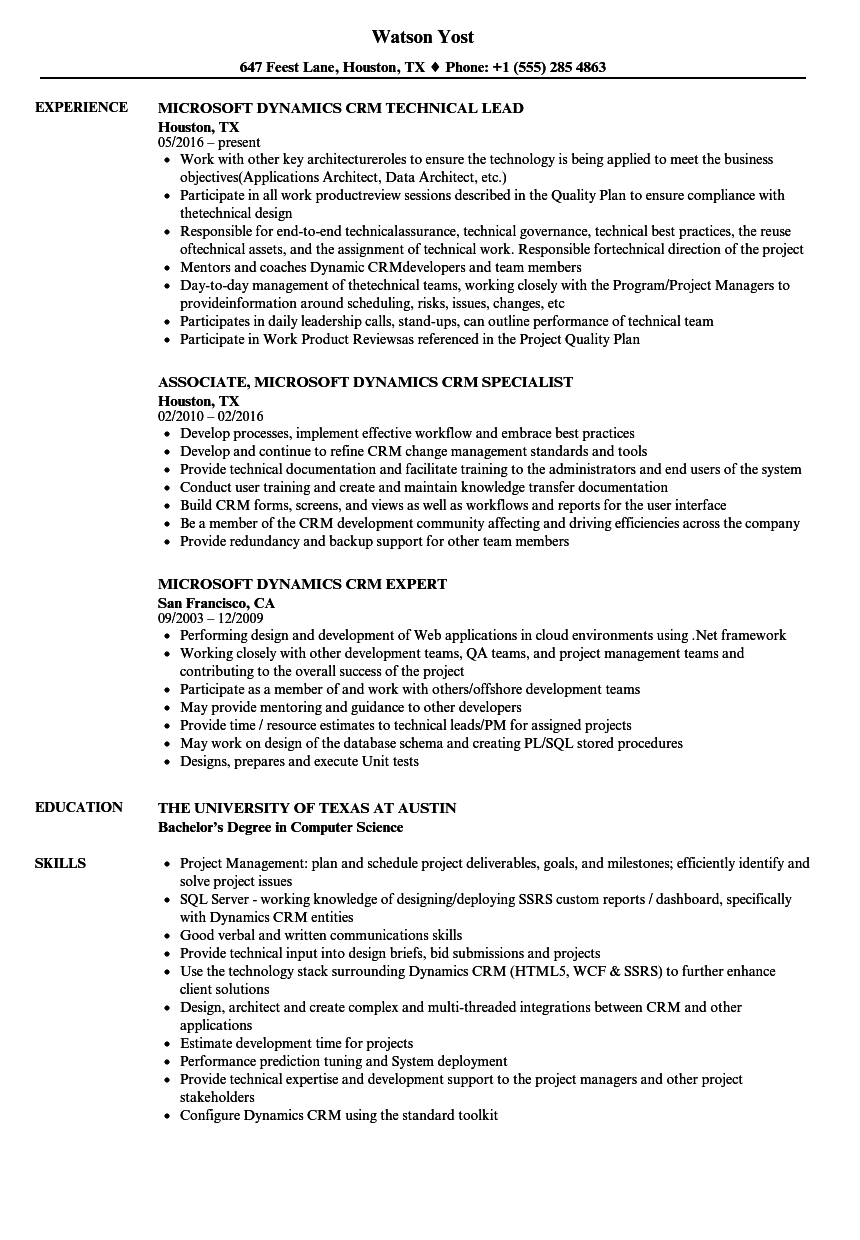 microsoft dynamics crm resume samples