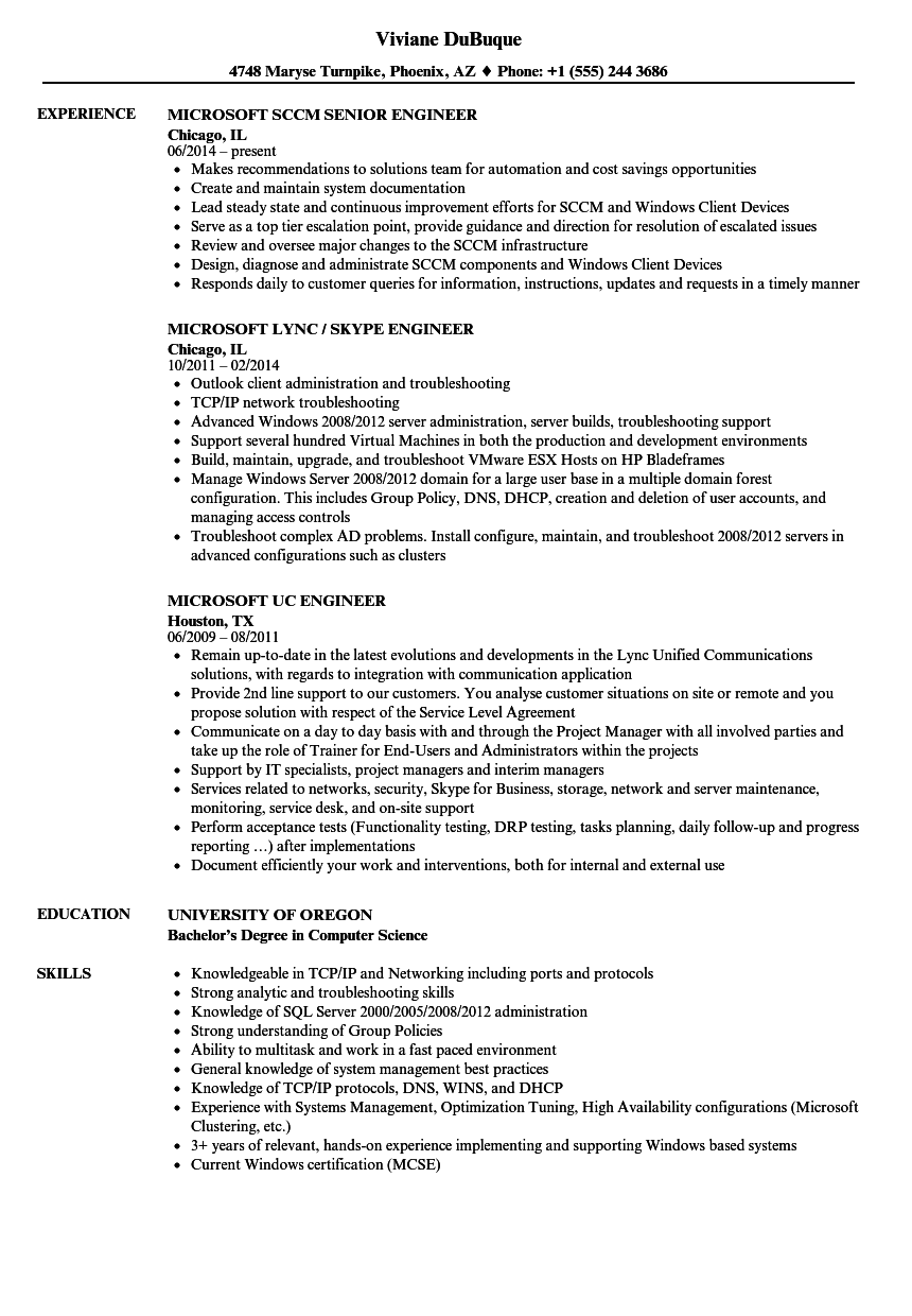 Microsoft Engineer Resume Samples | Velvet Jobs
