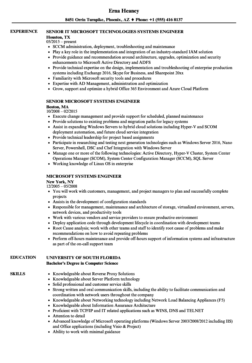 Microsoft Systems Engineer Resume Samples | Velvet Jobs