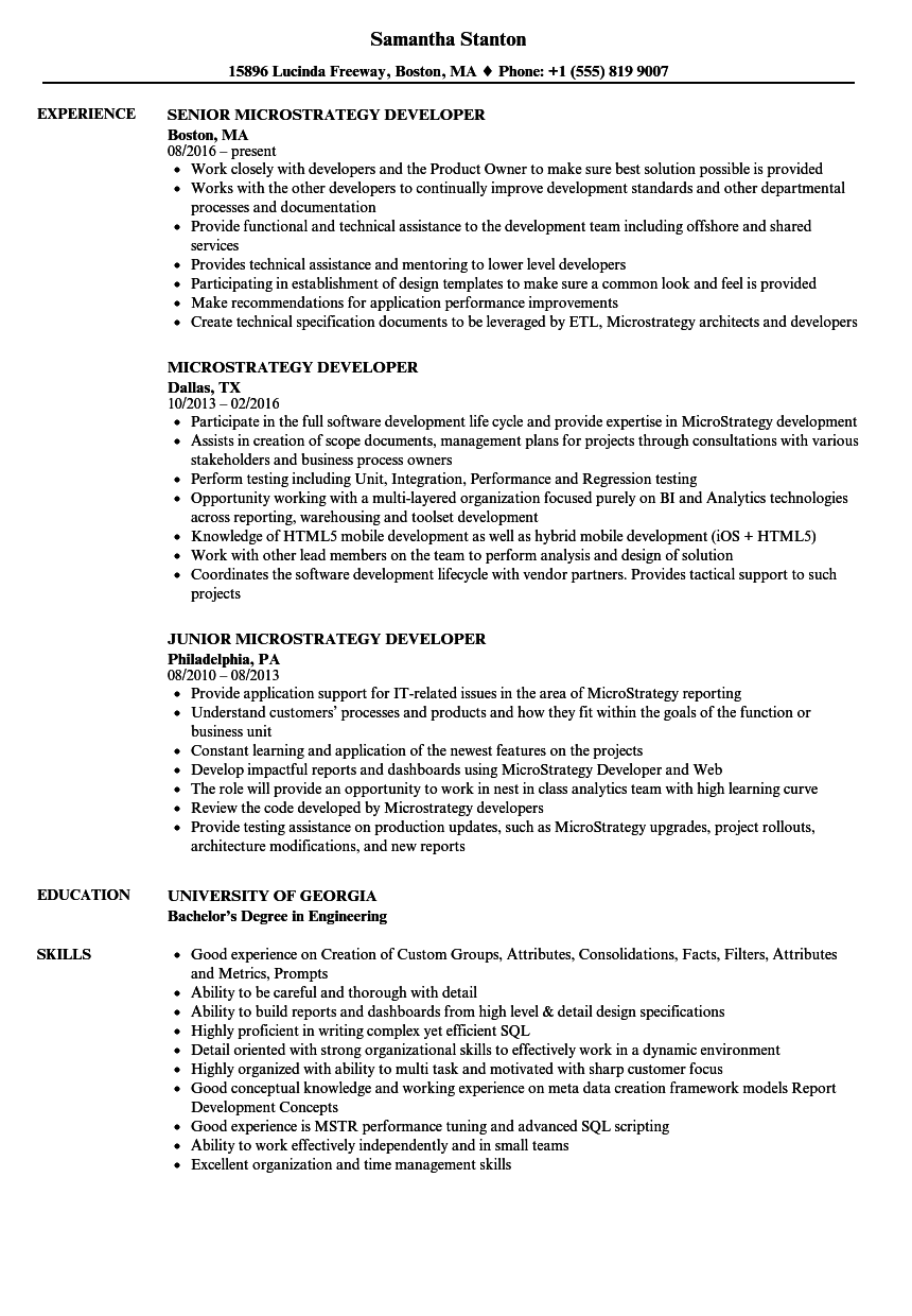 Microstrategy Developer Resume Samples | Velvet Jobs