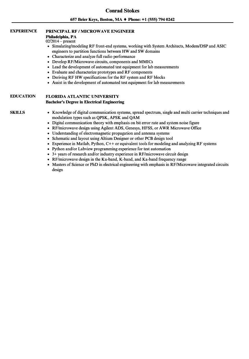 Microwave Engineer Resume Sample As Image File