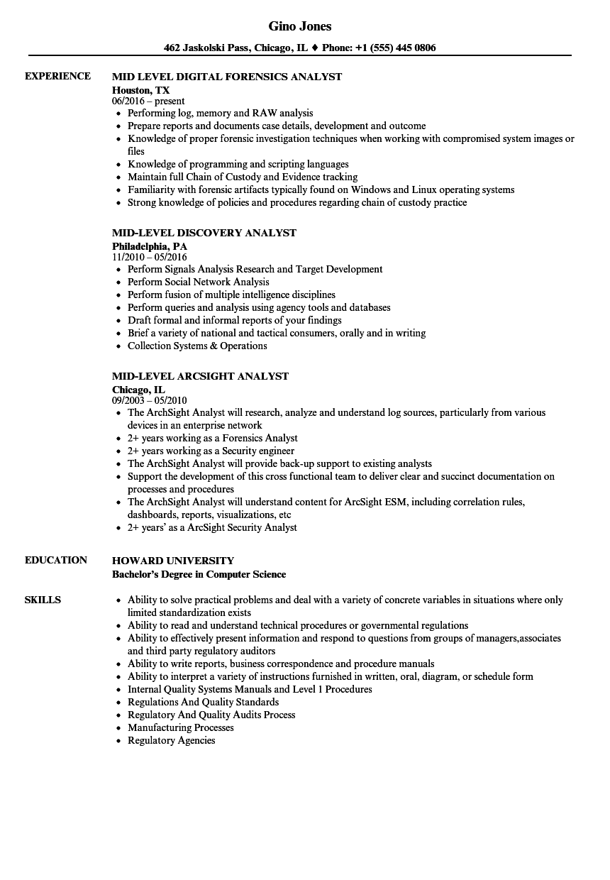 download mid analyst resume sample as image file