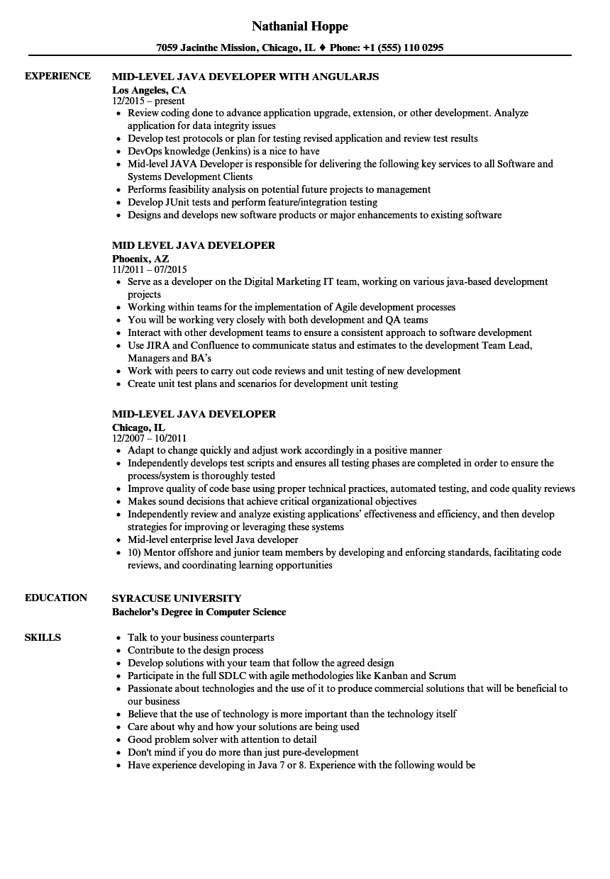 sample resume for mid level position - mid level java developer resume samples velvet jobs