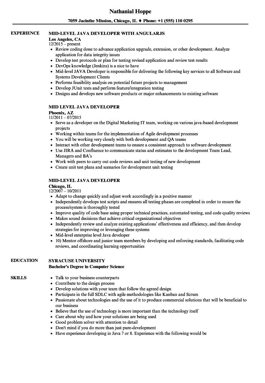 Mid Level Java Developer Resume Samples | Velvet Jobs