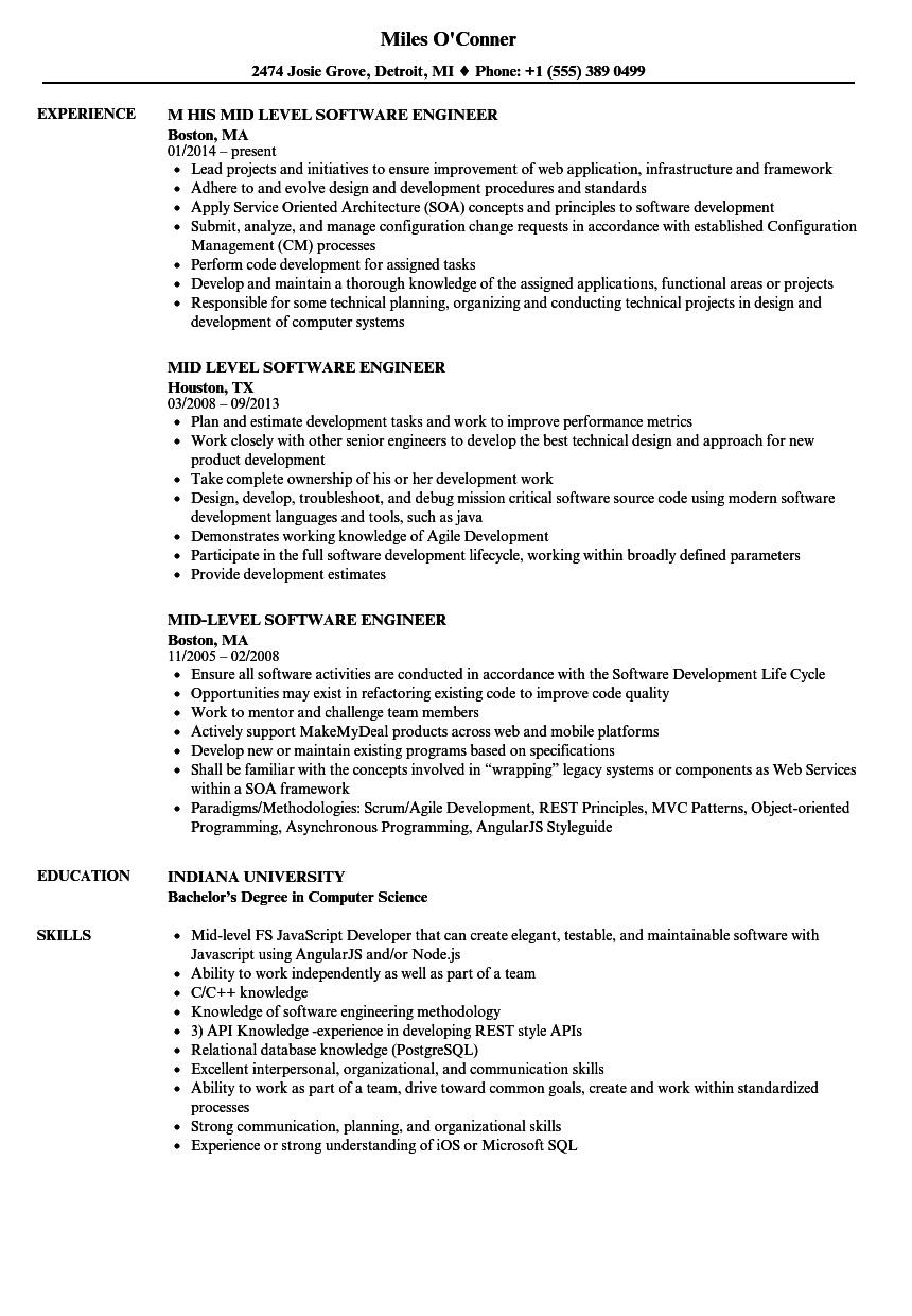 Mid Level Software Engineer Resume Samples