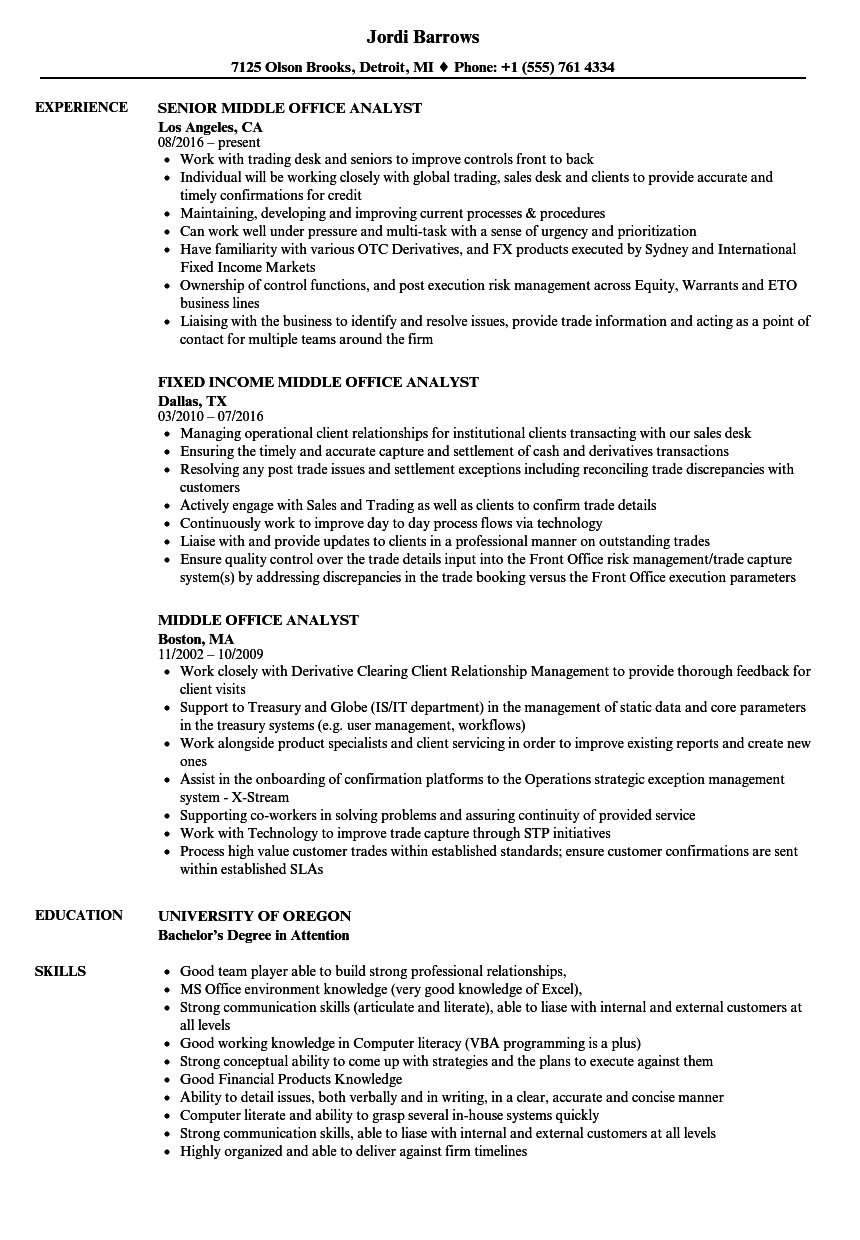 middle office analyst resume samples velvet jobs rh velvetjobs com Medical Office Manual Office Manual Contents