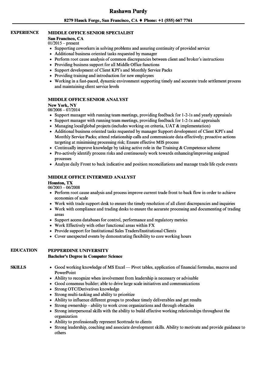 middle office resume samples