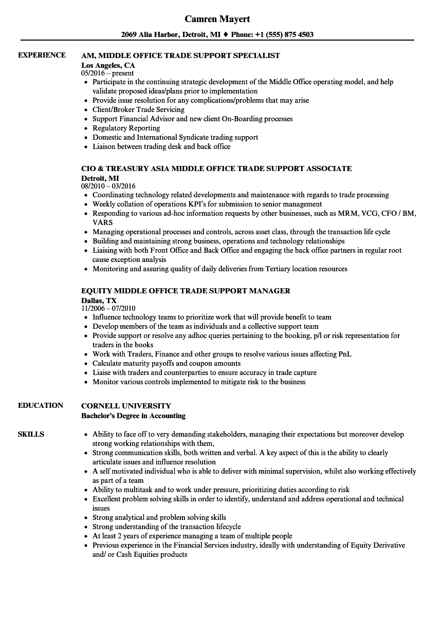 middle office trade support resume samples velvet jobs