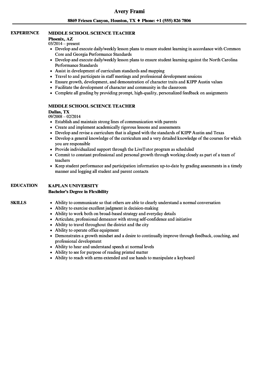 Middle School Science Teacher Resume Samples Velvet Jobs