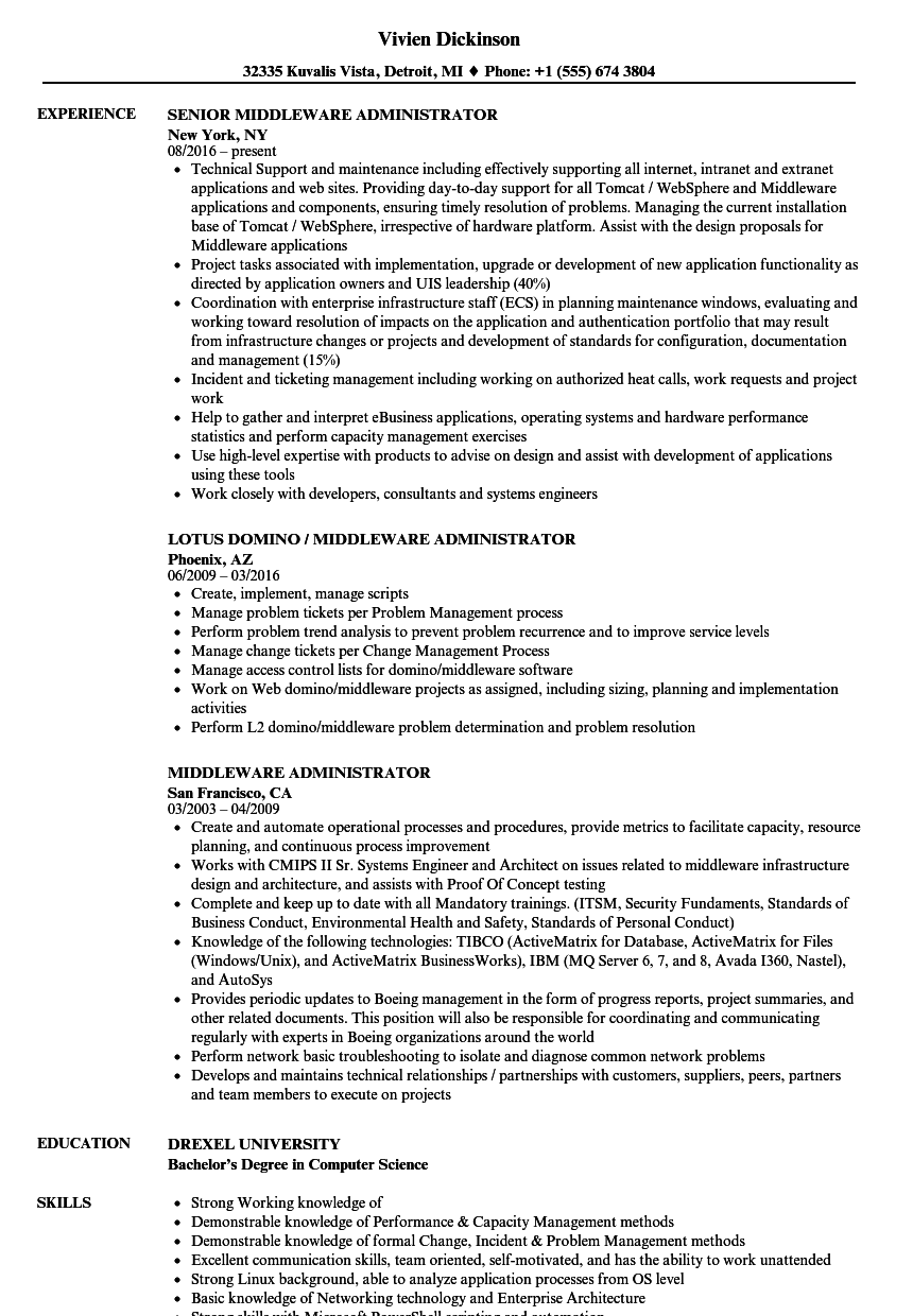 Middleware Administrator Resume Samples Velvet Jobs