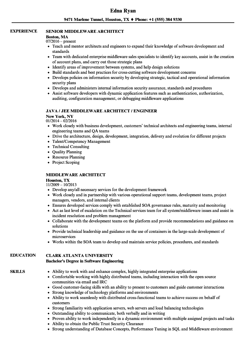 Middleware Architect Resume Samples | Velvet Jobs