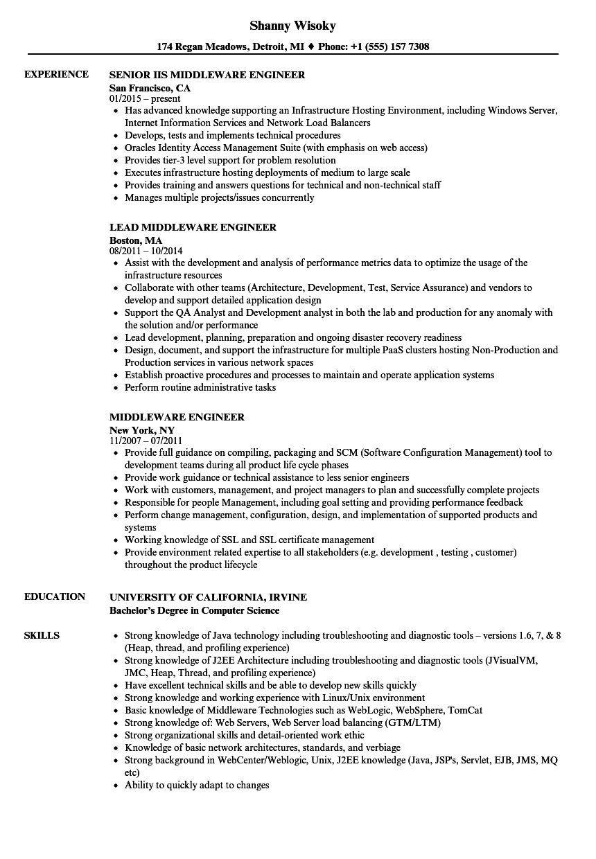 middleware engineer resume samples