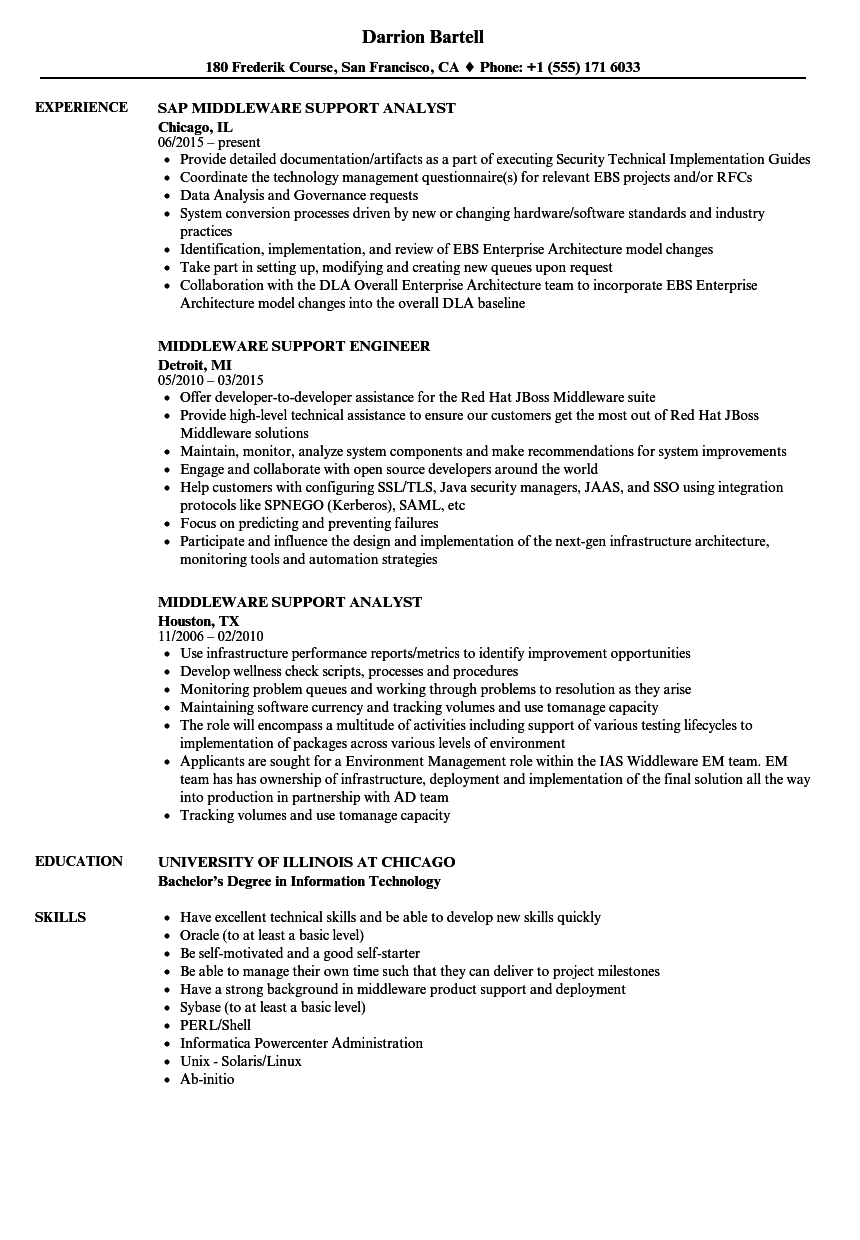 Middleware Support Resume Samples