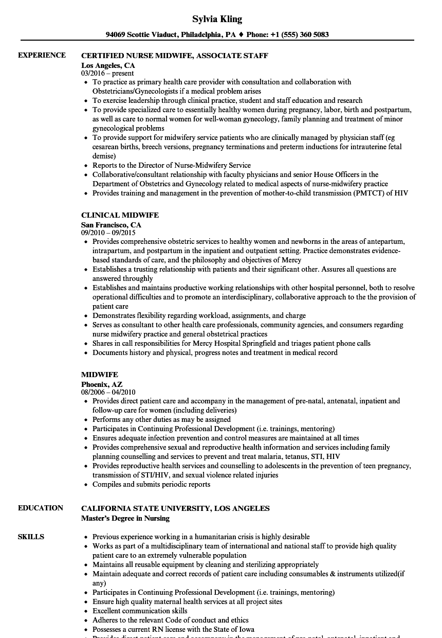 Midwife Resume Samples | Velvet Jobs