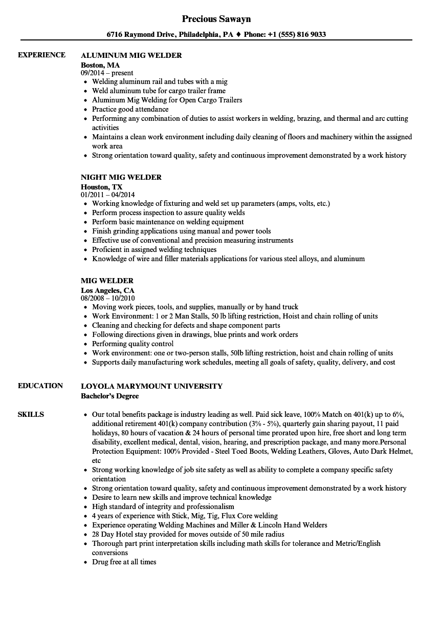 Download Mig Welder Resume Sample As Image File  Welding Resume Examples