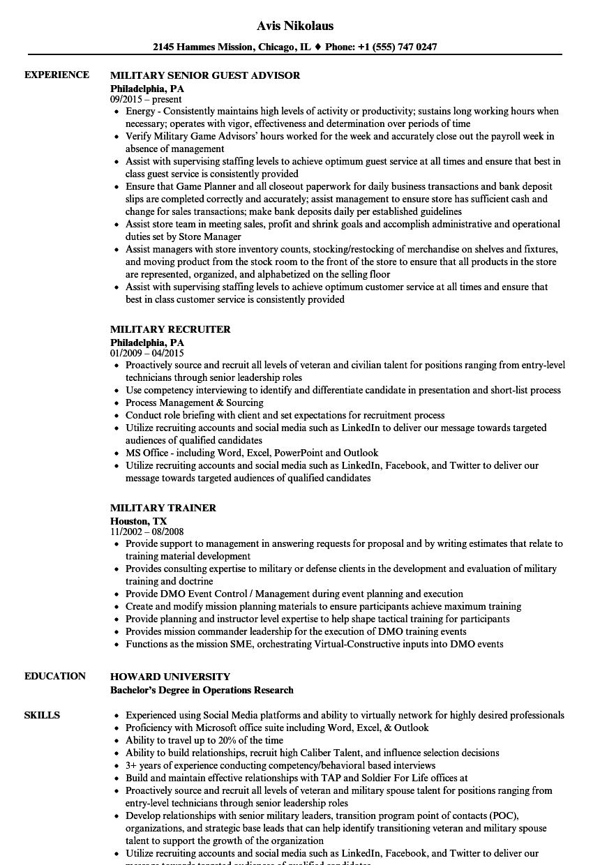 military resume samples velvet jobs
