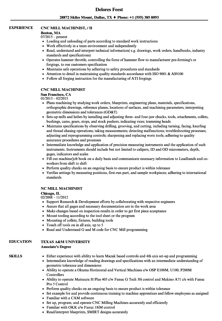 Download Mill Machinist Resume Sample As Image File  Cnc Machinist Resume Samples