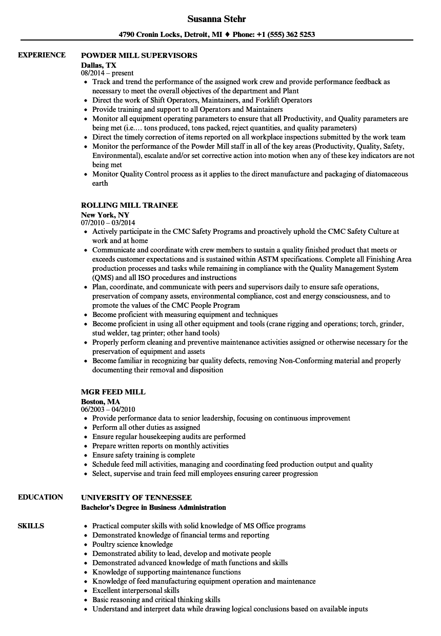 mill resume samples