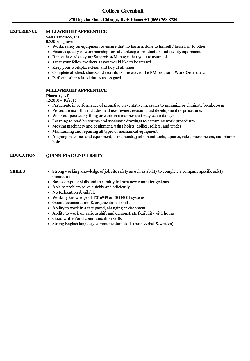 millwright apprentice resume samples
