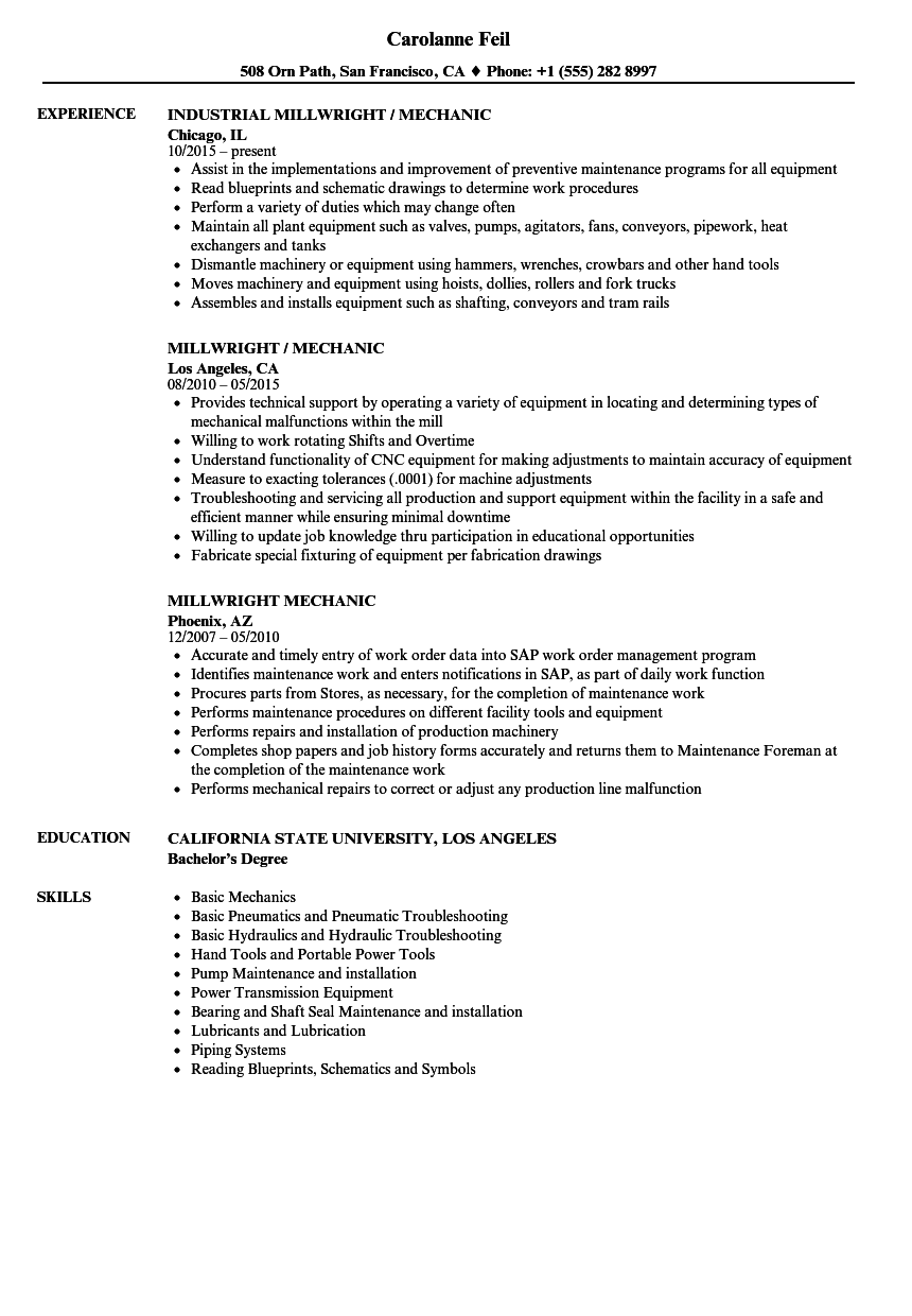 Millwright Mechanic Resume Samples Velvet Jobs