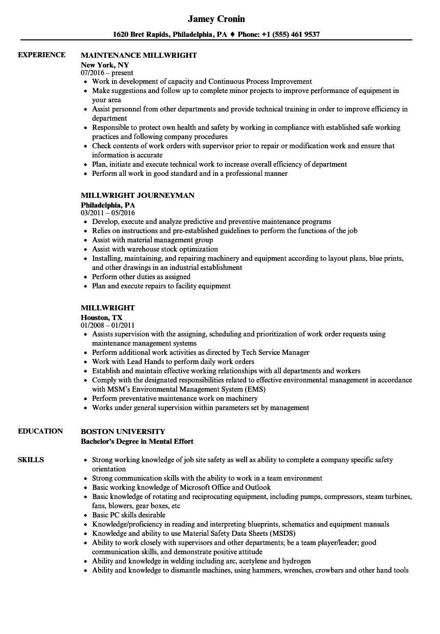 Download Millwright Resume Sample As Image File