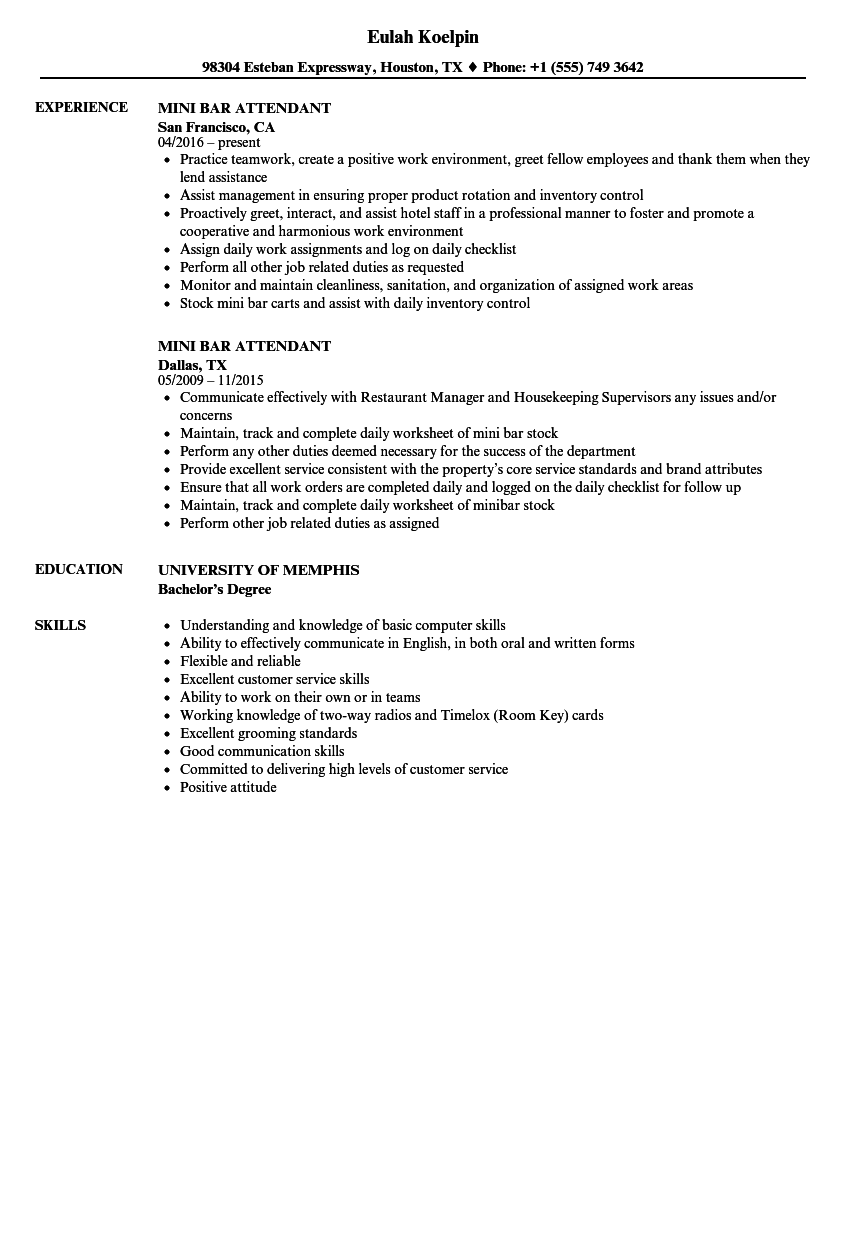 mini bar attendant resume samples velvet jobs