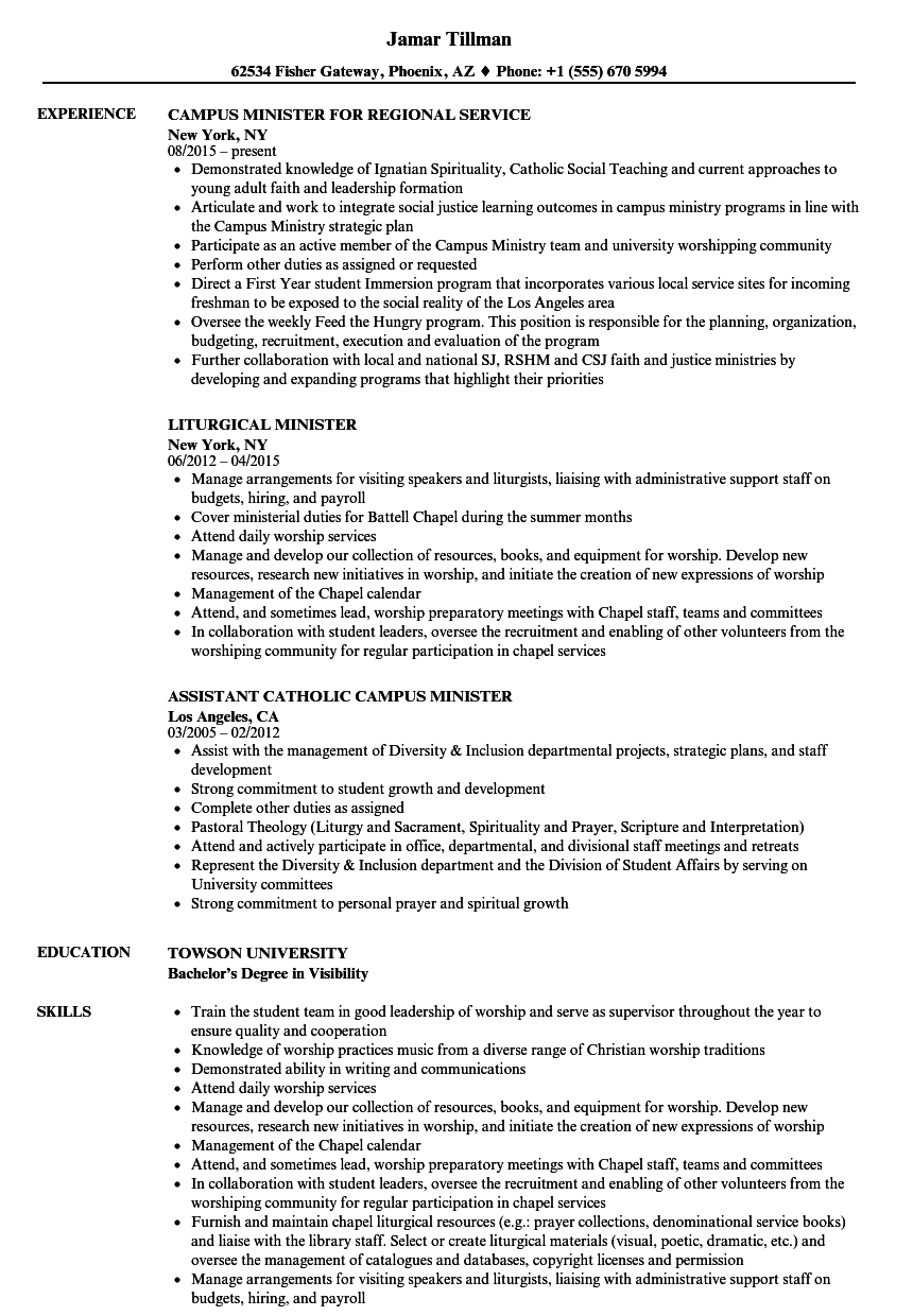 Download Minister Resume Sample As Image File