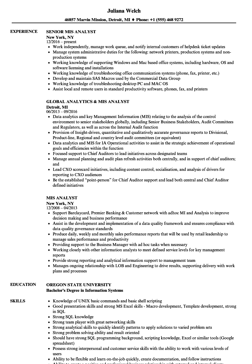 Resume Format For Mis Executive