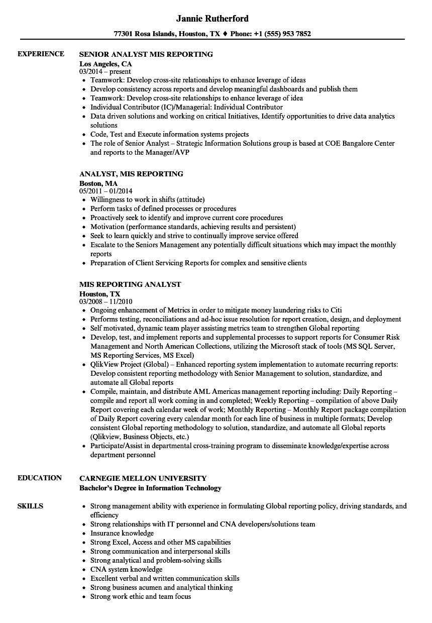 mis reporting resume samples