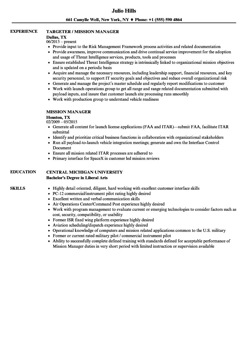 Mission Manager Resume Samples Velvet Jobs