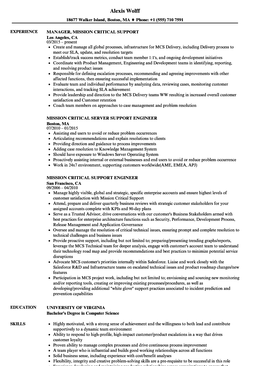 Mission Support Resume Samples | Velvet Jobs
