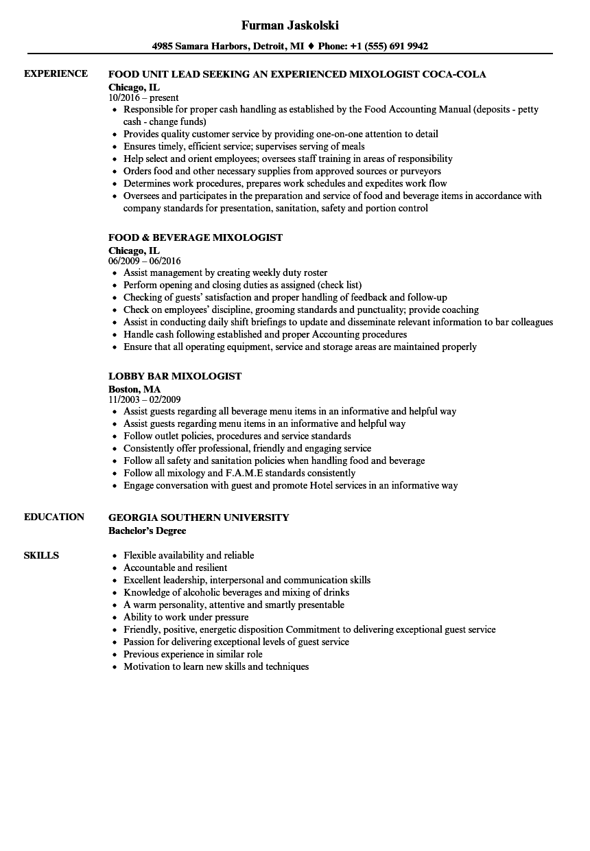 resume Mixologist Resume Example mixologist resume samples velvet jobs download sample as image file