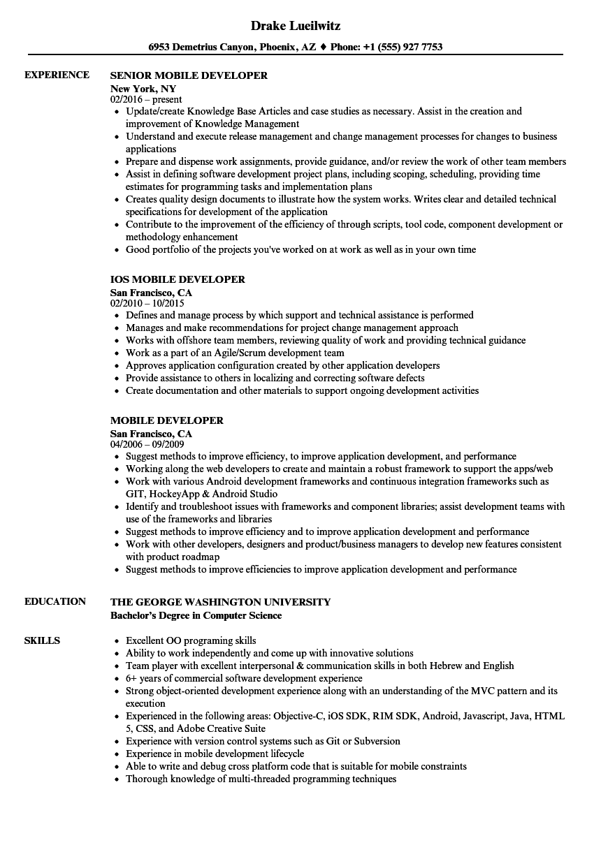 mobile developer resume samples velvet jobs