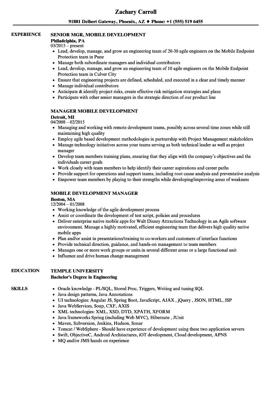 mobile development resume samples