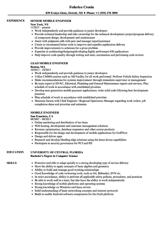 mobile engineer resume samples