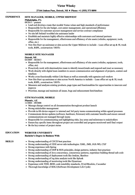 mobile manager resume samples velvet jobs