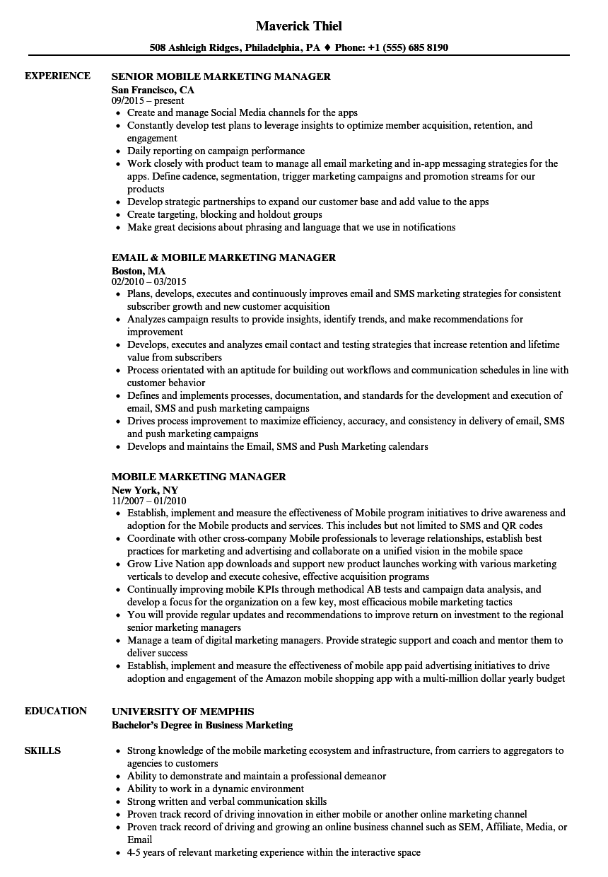 Mobile Marketing Manager Resume Samples Velvet Jobs