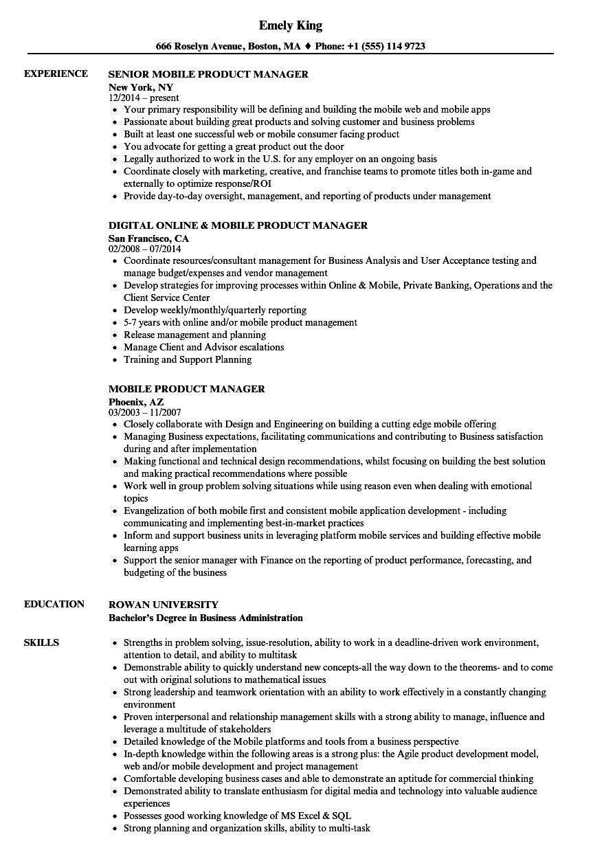 download mobile product manager resume sample as image file - Product Manager Resume