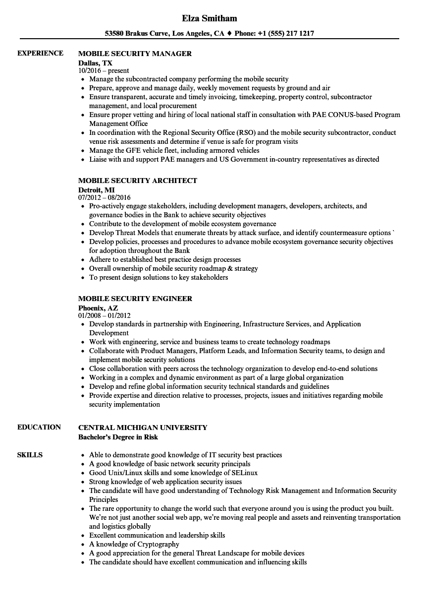 Download Mobile Security Resume Sample As Image File